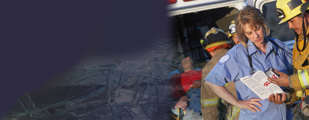 Photo of emergency workers reading Medipal Seatbelt ID information as patient is placed in back of ambulance.